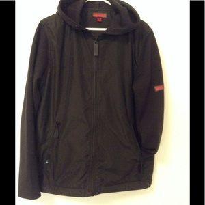 Burberry Black Zip Up Hoodie Poly w/ Wool Sleeves